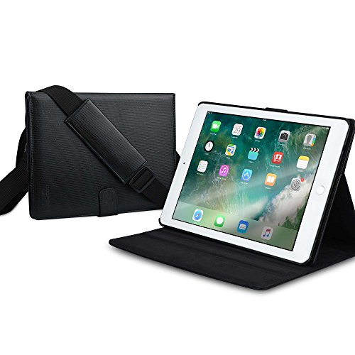 COOPER MAGIC CARRY II PRO case compatible with iPad Pro 9.7, iPad Air 2 | Protective Tablet Folio Cover w/ Handle & Stand | Carrying Case for Business School Travel | A1673 A1674 A1566 A1567 (Black)