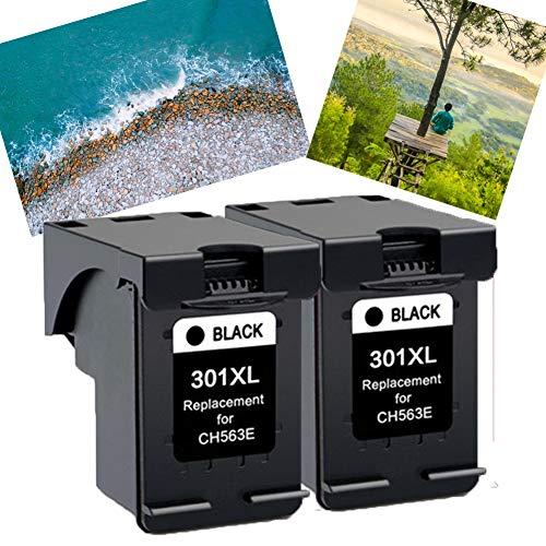 Ouguan® Remanufacturado Cartuchos de Tinta Reemplazo para HP 301XL (2 Negro) Compatible con HP Deskjet 2540 1510 3050 2050 1512 1050 Envy 4500 5530 4502 Officejet 4630 2620 Impresoras
