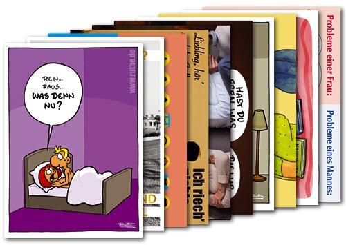 10er-Pack: Postkarten A6 +++ MIX SET Nr. 1 von modern times +++ 10 lustige MANN / FRAU-Motive +++
