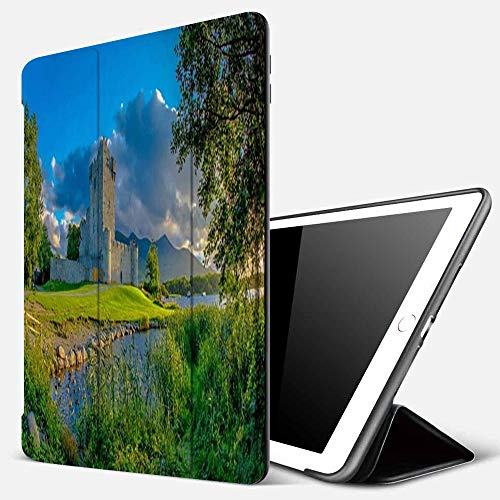iPad 9.7 inch 2017/2018 Case/iPad Air/Air 2 Cover,Tower Stone Idyllic Landscape Ross Historic Green Castle Killarney National Landmarks Ho,PU Leather Shockproof Shell Stand Smart Cover with Auto Wake