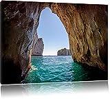 Felstor im Meer Bild auf Leinwand, XXL riesige Bilder fertig gerahmt mit Keilrahmen, Kunstdruck auf Wandbild mit Rahmen, guenstiger als Gemaelde oder Bild, kein Poster oder Plakat, Format:120x80 cm