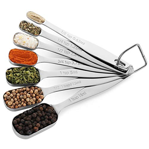 Chefrock Measuring Spoons Set of 7 Premium 18/8 Stainless Steel For Dry and Liquid, Fits in Spice Jars