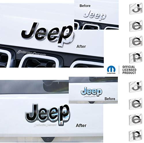 Reflective Concepts - JEEP Front and Rear Emblem Overlay Decal Stickers - 2014-2021 Jeep GRAND Cherokee - (Color: Flat Black)