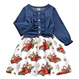 Toddler Girls Christmas Candy Dresses Xmas Gift Trees Print Skirts Long Sleeve Crewneck Ruffle Bow Button Down Tops One Piece Outfits Size 3-4T