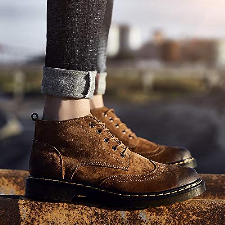 Shukun Men's boots Martin Boots Men'S Middle Men'S Versatile Tooling Boots Desert Pu Booties Black