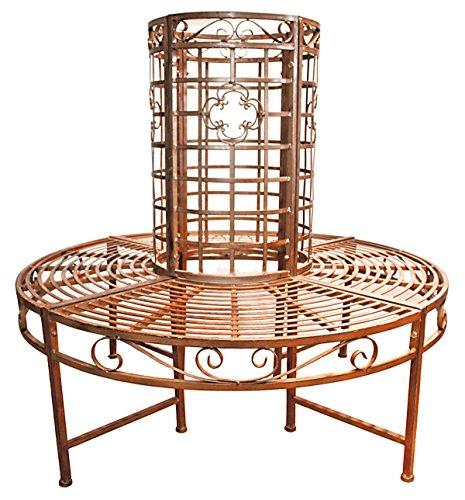nxtbuy Baumbank Larissa aus pulverbeschichtetem Metall in Rost-Bronze Optik runde Sitzbank mit Ornamenten im romantischen Jugendstil-Look