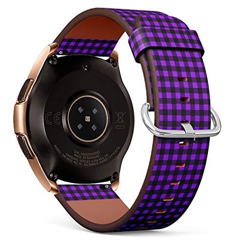 Compatible con Samsung Galaxy Watch (42 mm) – Correa de Reloj de Cuero con pasadores de liberación rápida (Buffalo Tartan Plaid Proton púrpura)