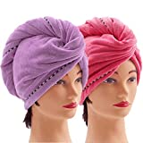 2 Pack Microfiber Hair Towel Wrap, Quick Dry Hair Hat Anti-frizz Fasten Head Turban with Button for Long Thick & Curly Hair, Super Absorbent Soft - (Purple & Red)