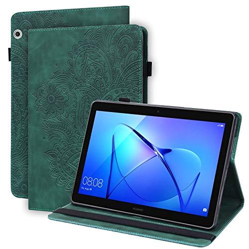 WHWOLF Adecuado para Huawei Mediapad T3 10 Caso (9.6 pulgadas) Funda Flip PU Cuero Múltiples Ángulo Soporte Con Ranura Para Tarjeta Y Lápiz Soporte Para Huawei Mediapad T3 10 Tablet -verde