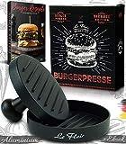 Le Flair® - Prensa para hamburguesas de aluminio de alta calidad - Prensa para hamburguesas con bolsa de almacenamiento - Incluye 50 hojas de papel de horneado - Accesorio perfecto para barbacoa