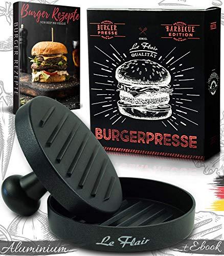 Le Flair® Alu Burgerpresse aus hochwertigem Aluminium - Hamburgerpresse mit Aufbewahrungstasche - Burger Patty Presse inkl. 50 Blatt Backpapier - Perfektes Grillzubehör Geschenk für Männer schwarz