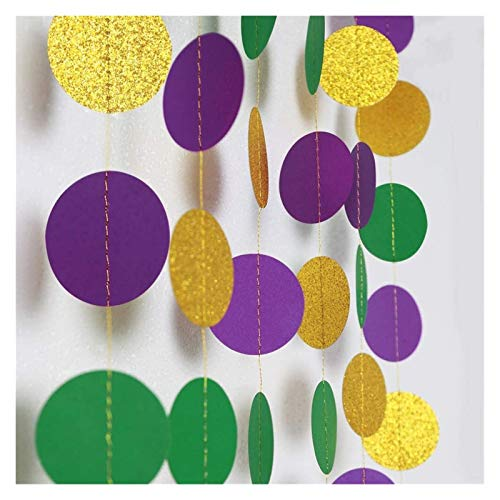 Heart and Star Foil Balloons, Paper Pom Poms, Banner Garland,Paper Fans, Paper Garland, Balloon Strip TapeDecor365 Gold Purple Green Circle Dots Garland Kit Mardi Gras Decoration Paper Polka Dot Strea
