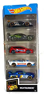 Hot Wheels Cars Nightburnerz 5-Pack (Renault Sport R.S. 01, Dodge Challenger Drift Car, Ford Focus RS, Track Manga and Cus...
