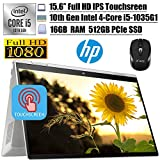 2020 Newest HP Envy x360 2 in 1 Business Laptop, 15.6'FHD IPS Touchscreen, Intel Quad-Core i5-1035G1(i7-8550U), 16GB DDR4 512GB PCIe SSD, FP Backlit Thunderbolt Alexa Win 10 + iCarp Wireless Mouse