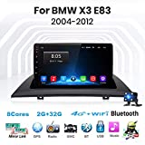 para BMW X3 E83 2004-2012 Sat Nav Double DIN Car Stereo Radio Navegación GPS Pantalla táctil de 9 Pulgadas Unidad Principal Reproductor Multimedia Receptor de Video WiFi Bluetooth