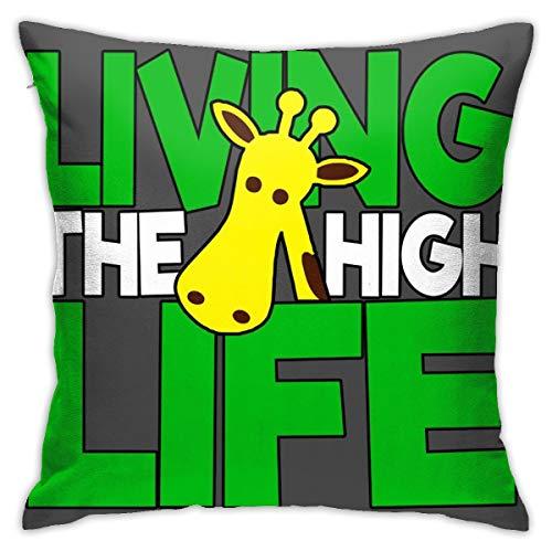 HONGYANW Living The High Life Jirafa Funda de almohada, impresión de doble cara, funda de almohada con cremallera oculta, hermosa funda de almohada de 45,7 x 45,7 cm