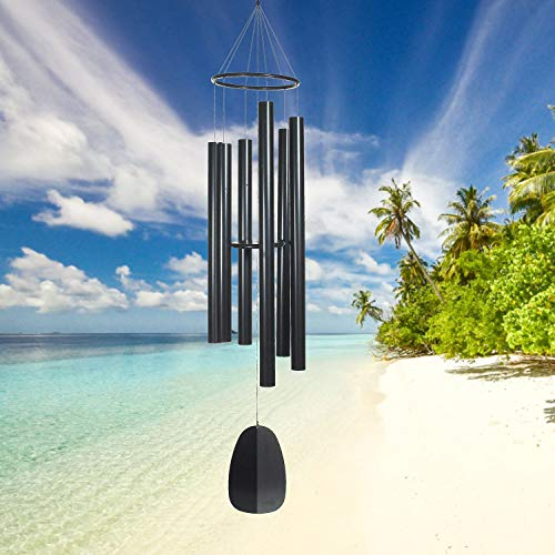 Woodstock Chimes BPK88 The Original Guaranteed Musically Tuned 88-Inch Bells of Paradise Wind Chime, Black