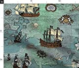 Anker, Maritim, Pirat, Landkarte, Ozean, Meer Stoffe -