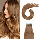 SUYYA Tape in Hair Extensions 100% Remy Human Hair 20 inches 20pcs 50g/pack Straight Seamless Skin Weft Tape Hair Extensions(20Inch Color 8 Light Brown)