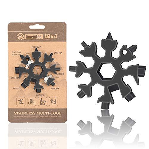 AMENITEE 18-in-1 Schneeflocke Multi-Tool - Easy N Genius - Saker 18-in-1 Edelstahl Schneeflocken Multitool (Schwarz)