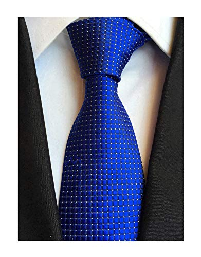 Elfeves Mens Royal Blue Silk Cravat Ties Woven Dance Formal Neckties Gift Ideal