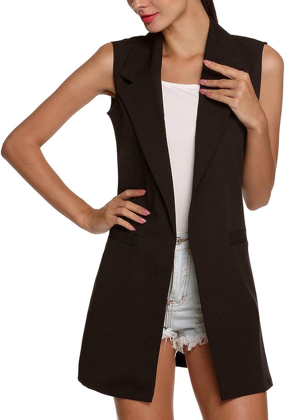 Yimoon Women's Lapel Collar Sleeveless Open Front Long Duster Vest Blazer Jacket