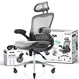 NOUHAUS ErgoFlip Mesh Computer Chair - Grey Rolling Desk Chair with Retractable Armrest and Blade Wheels Ergonomic Office Chair, Gaming Chairs, Executive Swivel Chair/High Spec Base
