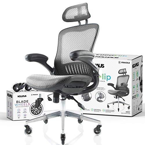 NOUHAUS ErgoFlip Mesh Computer Chair - Grey Rolling Desk Chair with Retractable Armrest and Blade...