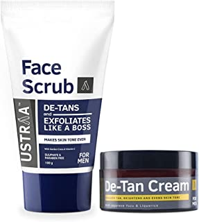 Ustraa Total De-Tan Kit - De-tan Face Cream, 50g - De-Tan Face Scrub with Walnut Granules, 100g