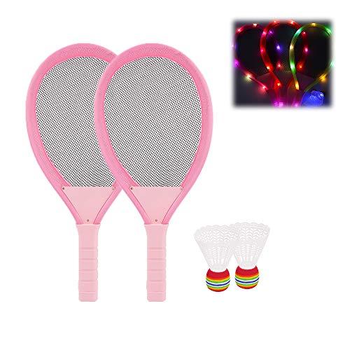 Swing around Kinderbadmintonschläger-Satz, Badminton-Schläger mit eingebauten LED-Leuchten, Inklusive 2 Rackets & 2 Bälle, Geeignet für Kinder & Eltern-Kind-Spiele (Keine Batterie eingeschlossen)