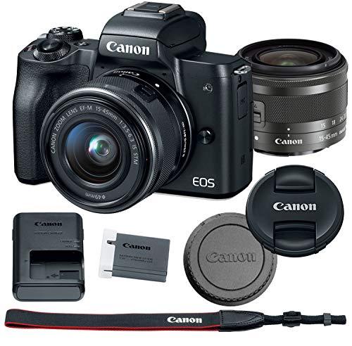 Canon EOS M50 Mirrorless Digital Camera Bundle + 15-45mm Lens (Black) - 2680C011