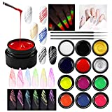 SmoBea 12 Colors Luminous Spider Gel, Glow in The Dark Nail Polish Spider UV Gel Nail Art Drawing DIY Decorations for Halloween Party Dance Glow in The Dark, with 3 Nail Painting Pen
