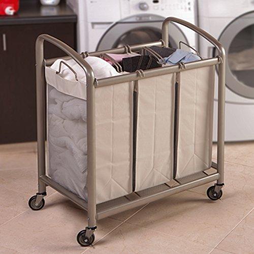 "Seville Classics Portable 3 Bag Slanted Handle Laundry Sorter 35.2"" H X 30.7"" W X 17.6"" D"