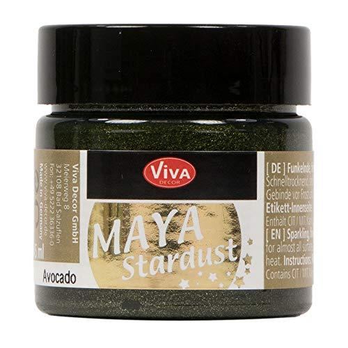 Viva Decor®️ Maya Stardust (Avocado, 45 ml) feinkörnige Glitzer Farbe - feine Effekt Paste zum Basteln - Glitter Farben für Porzellan, Beton, Steine, Papier, Glas UVM. - Wetterfest