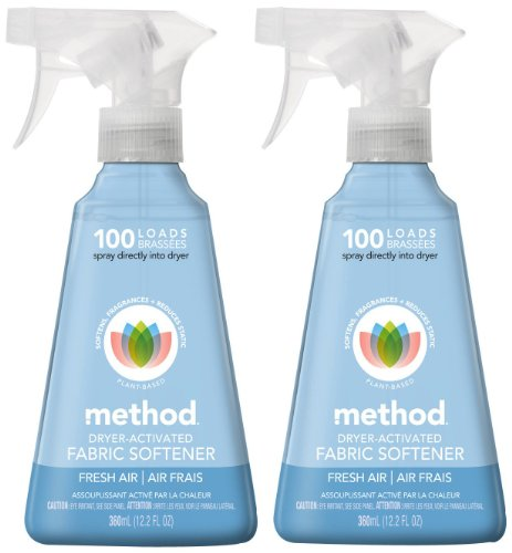 Method Dryer Activated Fabric Softener Spray, - Fresh Air - 12.2 oz - 2 pk