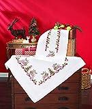 Kamaca - Kit per ricamo a punto croce, motivo renna, tovaglia 80 x 80 cm, in cotone, con motivo natalizio