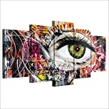 Dengjiam Modulare Leinwanddruck Bilder 5 Teile/Los Eye Vision Graffiti Hd Mode Wandkunst Malerei Für Wohnzimmer Dekoration Poster