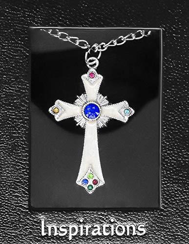 Katholieke cadeauwinkel Ltd gouden kruis ketting met een blauwe steen & lourdes gebedskaart