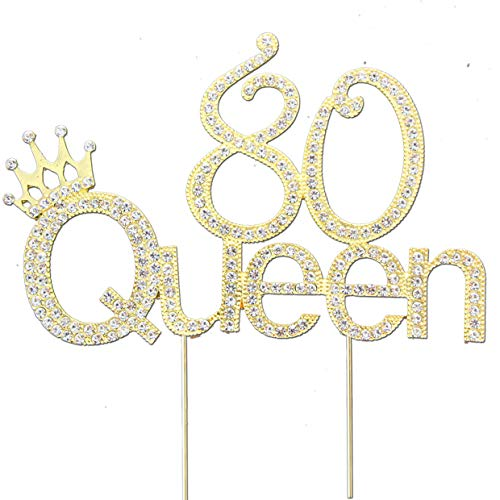 Glitter Crystal Gold Queen 80 Cake Topper | Happy 80th Birthday Rhinestone Diamond Bling Sparkle Gem Monogram Number Party Favor Decoration Idea Perfect Keepsake. (Queen 80 Gold)