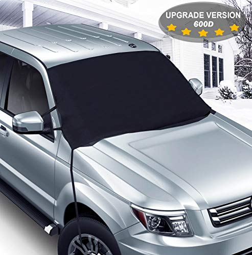 Car Windshield Snow Ice Cover, 600D Oxford Fabric with PVC Coating, Extra Large Thick Frost Guard Windshield Cover, Double Fixed Straps - Fit Most Cars Trucks SUV MPV