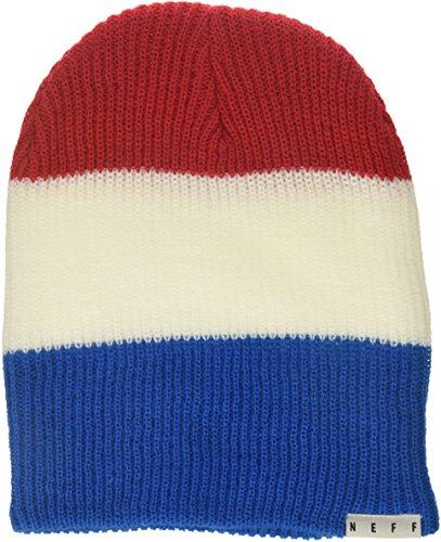 Neff Unisex-Erwachsene Trio Beanie Mütze (Skull Cap), rot/weiß/blau, Einheitsgröße