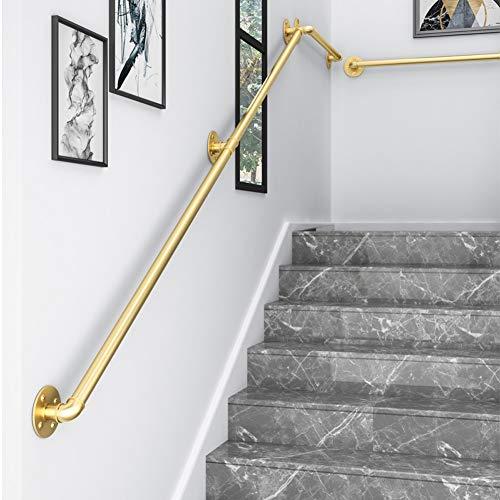 MEFKY Industri eschienen handlauf for Treppen Indoor-goldene Metallschmiedeeisen Geländer for Behinderte Ältere Kinder im Freien Treppen Geländer Treppe Externe Außenwandmontage handlaufstützen