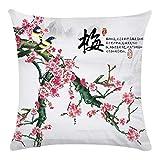 Lplpol Funda de cojín de lona decorativa de 45,7 cm, diseño de flor de cerezo