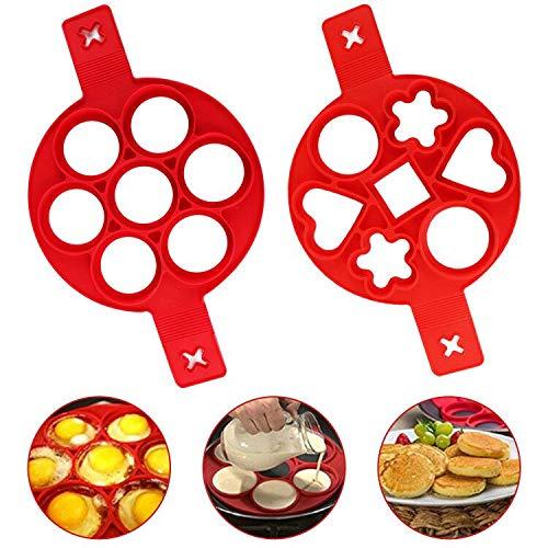 U&X Pfannkuchenform, Antihaft-Silikonform, für runde Eier, Donuts, Muffins, Pfannkuchen, Herzform, Silikon, rot 2er-Pack