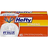 Hefty Strong Tall Kitchen Trash Bags, Unscented, 13 Gallon, 45 Count