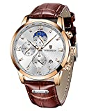 LIGE Mens Watches Fashion Gold Quartz Watches Waterproof and Durable Brown Leather Watch Analogue Business Multifunction Chronograph Watch