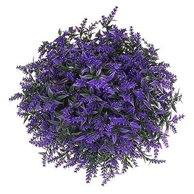 Momkids 6 Pcs Artificial Lavender Plants Flowers Outdoor UV Resistant Flowers Bouquet Fake Shrubs Greenery Bushes for Home Kitchen Garden Porch Window Box Farmhouse Decoration?Purple?