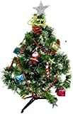 ALBELO Stores Mini Christmas Tree with 12 Pieces of Christmas Decor Ornaments Including Santa Red Cap