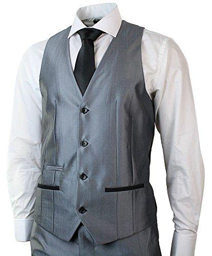 Costume Gris & Noir 3 Pièces Hommes - Marriages & Évenements - Coupe Slim