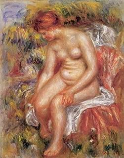Renoir (Bather Drying her Leg, 1895) Canvas Art Print Reproduction (20.1x15.7 in) (51x40 cm)